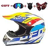Adulte hors route casque, DOT motocross ATV casque/lunettes-masque-gants/ATV/White UFO pattern/endurance race,S