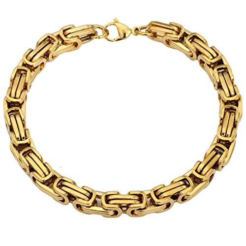 Trendsmax 8mm Uomini Wristband dell'acciaio inossidabile braccialetto uomini bizantina della catena del contenitore, tono oro