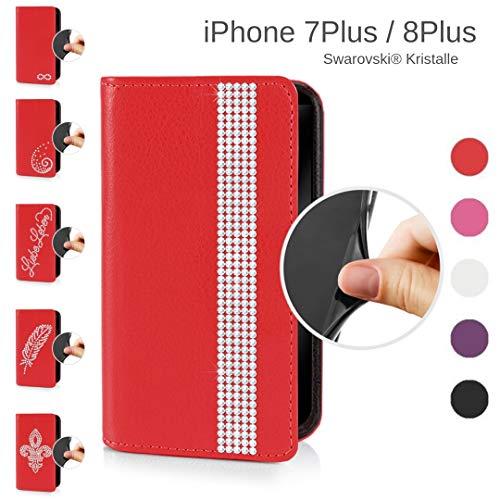 eSPee Handyhülle kompatibel mit Apple iPhone - 8 Plus - unzerbrechliche Schutzhülle aus Silikon mit Swarovski Kristallen Borte Magnetverschluss und Fach in Rot - Swarovski Crystal Iphone Case