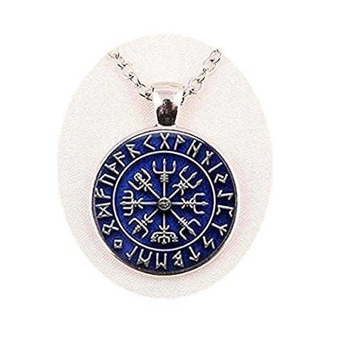 Viking Compass Necklace Viking Necklace Men Fashion Bronze or Blue Pendant Necklace (Blue)