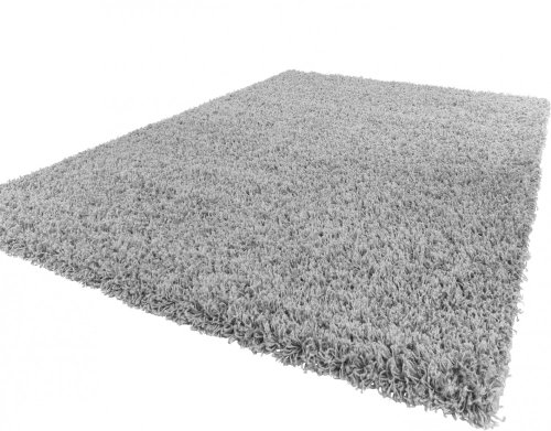 Tappeto shaggy/a pelo alto/a pelo lungo/tappeto a tinta unita in grigio, dimensione:140x200 cm