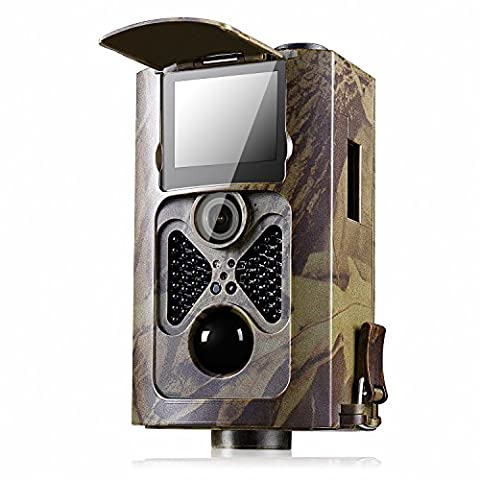 [2017 May New ]Wildlife Camera Ancheer Trail Camera Time Lapse 16MP 1080P HD Game Camera No Glow Infrared Night Vision 48PCS Black Invisible IR LED 120°Wide Angle 0.5s Trigger Time with Remote Control Waterproof Surveillance Camera (Camo