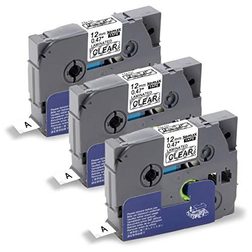 Xemax 3x Nastri P-touch 0.47' Tze-131 Tze 131 12mm x 8m Nero su Transparent Etichette Nastro, Compatibile con Brother P-touch PT-D210VP PT-H101C PT-1010 PT-P750W PT-E100 PT-H100P PT-1000 PT-D450