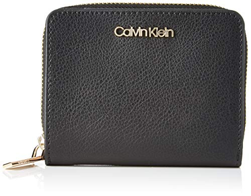 Calvin Klein Damen Enfold Med Zip W/flap Umhängetasche, Schwarz (Black), 10x12x3cm