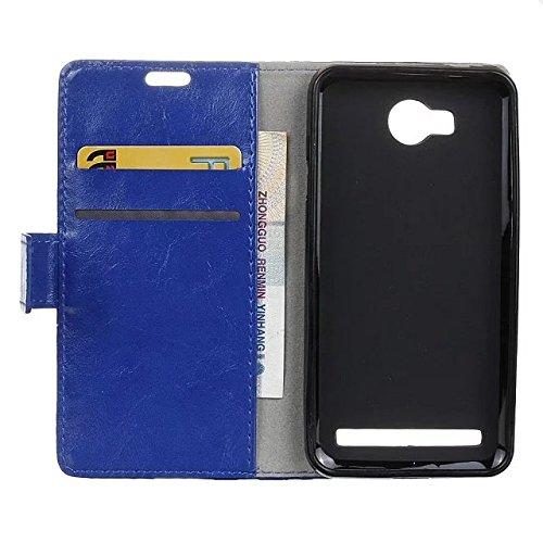 Vollfarbige verrückte Pferd Textur Muster Leder Schutzhülle Case Horizontal Flip-Stand Geldbörse mit Kartensteckplätzen für Huawei Y3 2 GEN ( Color : Blue , Size : Huawei Y3 2 GEN ) Blue