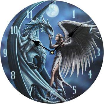 """k.A. - Orologio da parete """"Silver Back Anne Stokes"""", decorazione: angelo con drago"""