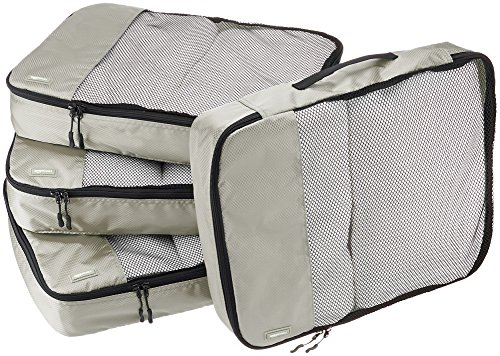 AmazonBasics Packing Cubes - Large (4-Piece Set), Gray