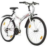 Multibrand, PROBIKE FOLDING MTB 26, 26 pollici, 457mm, Mountain Bike pieghevole, 18 velocità, Full Suspension, Unisex, grigio verde, 26 inch (Bianco/Rosso-Grigio + Parafango, 26x18)