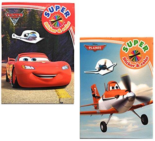 """2x DISNEY Malblock & Sticker Set Din A 4 – """"Cars"""" und """"Planes"""" - Malbuch mit Auto und Flugzeug - Flugzeug-aufkleber-buch"""