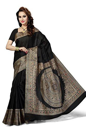 Rani Saahiba Women's Synthetic Saree (Skr2467_Black)