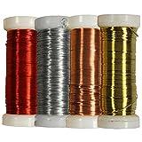 com-four 4er Set Wickel- und Basteldraht in Verschiedenen Farben, Ø 0,35 mm (04x 25 Gramm)