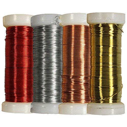 COM-FOUR 4er Set Wickel- und Basteldraht 0,35mm (Farbe: Rot, Bronze, Silberfarben, Goldfarben)
