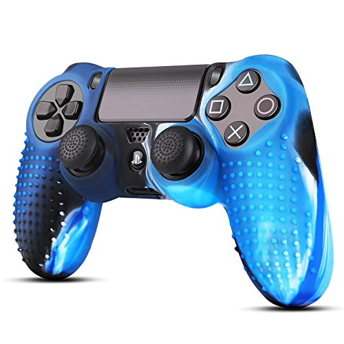 TNP PS4/Slim/Pro Controller Skin Grip Cover Case Set - Protective Soft Silicone Gel Rubber Shell & Studded Anti-slip Thumb Stick Caps for Sony PlayStation 4 Controller Gaming Gamepad (Camou Blue)