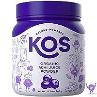 KOS Organic Açaí Juice Powder - Natural Antioxidant Superfood Açaí Juice Powder - Polyphenol Abundant, Anti-Aging, USDA Organic, Non-GMO Plant Based Ingredient, 360g, 120 Serving