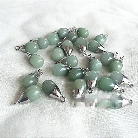 Grüne Dongling Jade im Gold - überzogenen Steinschmucksache-Ohr-Anhänger 10 * 15mm , opal / platinum