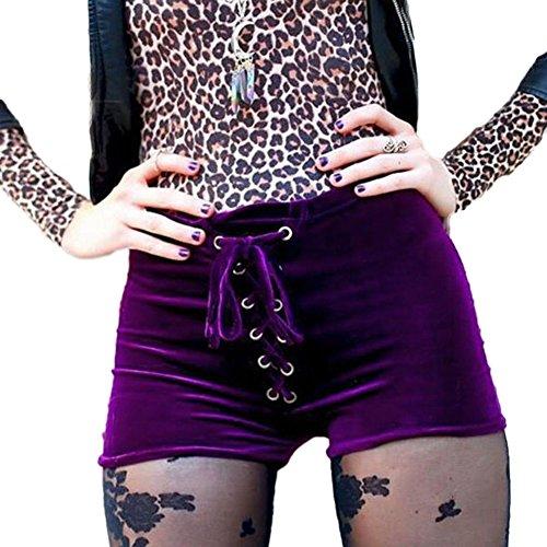 DELEY Femmes Adolescentes Confortable Velours Taille Haute Drawstring Pantalons Courts Chauds Shorts Nuit Fête Club Partie Collants Violet