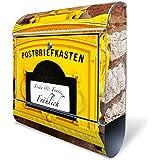 Design Briefkasten mit Zeitungsfach, Designer Motivbriefkasten mit Zeitungsrolle kaufen, für A4 Post, groß, bunt, Briefkastenschloss 2 Schlüssel, von banjado Motiv personalisiert Beschriftung Hausnummer Name Motiv historischer Postkasten