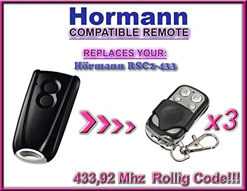 3x Hörmann RSC2-433/Hormann RSC2-433Kompatibel Fernbedienungen, Ersatz 433,92MHz, 3Stück für die besten Preis.