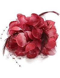 Gleader Pin Broche Pluma Tela Forma de Flores Borgona para Mujer Chica