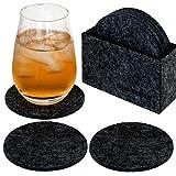 dunedesign 8 Edle Filz-Untersetzer Ø 10cm Runde Filz-Bierdeckel Gläser Getränke Glas-Untersetzer Set Filz-Box Anthrazit