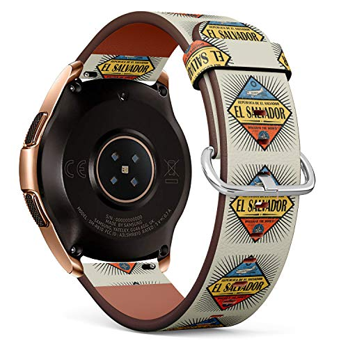 Samsung El Salvador (R-Rong kompatibel Watch Armband, Echtes Leder Uhrenarmband f¨¹r Samsung Galaxy Watch 42MM - Stamp or Vintage Emblem with Airplane, Compass and Text EL Salvador)