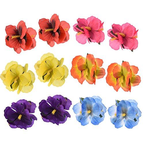 Sumind Haar Blumen Hawaii Haar Clip Blumen Haar Clipps für Kostüm Party Dekoration Lieferungen, 6 Farben, 12 Stücke (Kostüme Mit Lila Haare)
