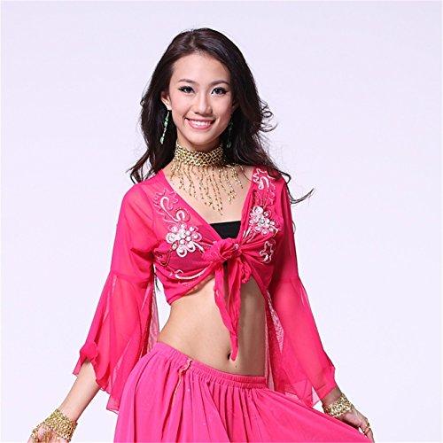 Women Sexy Dance Tops Bauchtanz Costume Embroidered Bandage Top Dancewear Bauchtanz Tops Dark Pink