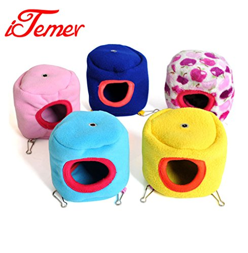 itemer Hamster Käfig, Hamster, kleine süße Tier Pet Winter warme Flanell Bett Käfig Nest für Hamster Eichhörnchen Igel, 1Stück (zufällige Farbe)
