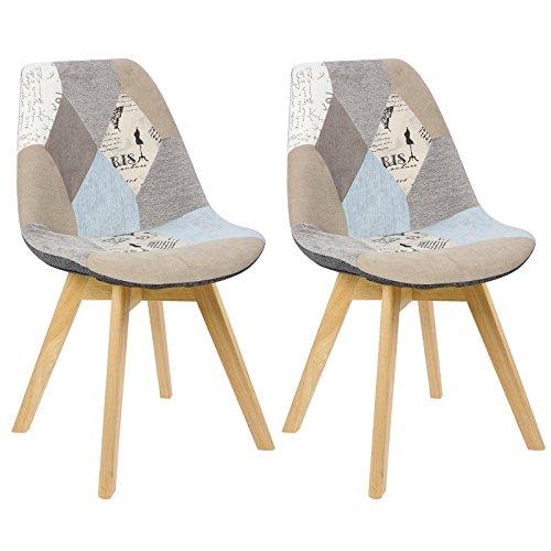WOLTU BH29pw-2 2 x Esszimmerstühle 2er Set Esszimmerstuhl Design Stuhl Küchenstuhl Holz, Leinen, Patchwork