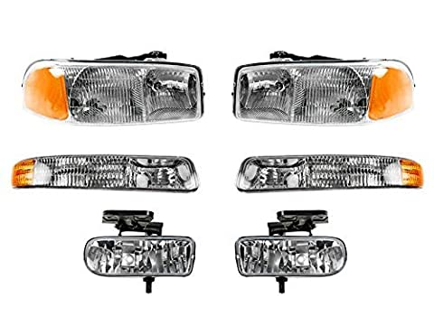 Gmc Sierra Pickup 1999-2006 99 - 06 Head Light Corner Park Fog Light 6 Piece Set by Auto Parts Avenue