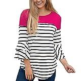 MEIbax Damen Striped Patchwork Shirt Dreiviertelaufflackernhülse Hemden Sexy Blusen Langarmshirt Casual Oberteile