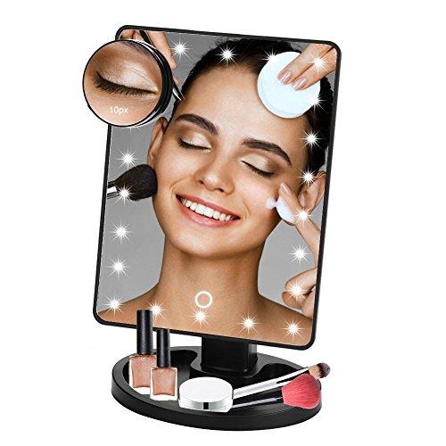 Schminkspiegel, leuchten Spiegel mit 10X Lupe, 22 LED-Leuchten 360 ° drehenden beleuchteten Spiegel Tabletop Touchscreen zum Rasieren, Dressing, Tischplatte oder Büro (Tabletop-nacht-licht)