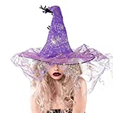 rabbitgoo Hexenhut Kostüm Damen Mädchen Zubehör für Karneval, Party Cosplay, Weihnachten, Ostern, Halloween Outdoor Abenteuer Lila
