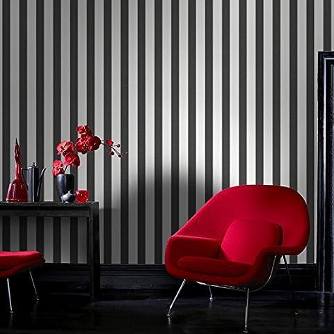 Superfresco Ticking Stripe Textured Charcoal Grey / White Wallpaper 20-521