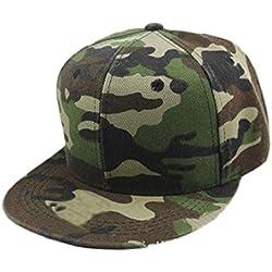 Tongshi Hip gorra de béisbol Hombres Mujeres camuflaje Hop Cap Hat Dance (Verde)