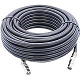 5m Câble d'extension Pour Antenne TV / TNT , Câble Coaxial Noir, Connecteurs Mâle / Mâle Avec Adaptateur Femelle