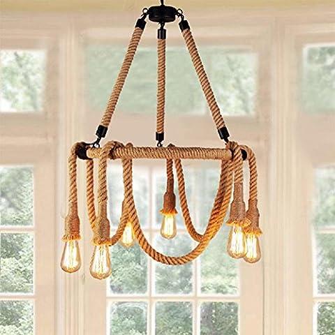 Modylee Lungo Yi americano paese spago retrò arte negozio di abbigliamento di design lampadario sala (Filigrana Pendente Di Montaggio)
