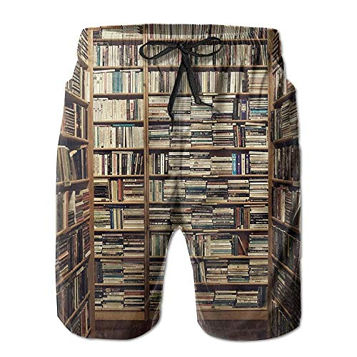 Generic Spezielle Bücherregal Muster Männer/Jungen Casual Shorts Badehose Badebekleidung Elastische Taille Strandhose Mit Taschen,XXL -
