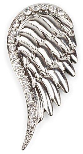 styleBREAKER Ciondolo Magnetico per Sciarpe Foulard o Poncho con Design di Ali ricoperte di Strass Spilla Donna 05050023