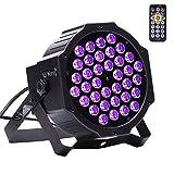 U`King Schwarzlicht 3W X 36leds UV LED Strahler PAR Lichter mit Fernbedienung und DMX Steuerung Glow in der Dunklen Partylight für DJ Disco Hochzeit Bühnenbeleuchtung