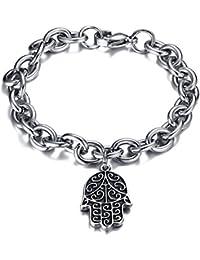 Vnox Antiguo acero inoxidable Rolo cadena de acoplamiento Hamsa Fátima mano pulsera de plata para hombres