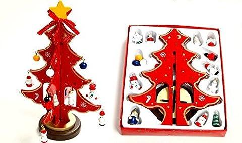 Lanlan DIY Weihnachtsdekoration Desktop Dekoration Mini Holz Weihnachtsbaum, rot