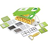 (12 In 1) Smart Vegetable Slicer With 12 JAALI Vegetable Graters, Slicer, Chipser, Dicer, Cutter Chopper Upgraded Deluxe Model With Unbreakable ABS Body And Heavy Stainless Steel Blades