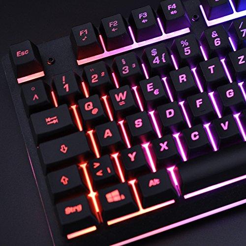 Gaming Tastatur mechanisches Gefühl Chroma RGB Beleuchtung und Vollhohen Tastenkappen Ergonomischen Design Business&Gaming-Tastatur Horsky, QWERTZ, Deutsche Layout  - 8