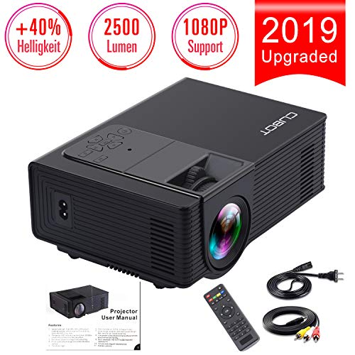 CUBOT (2019) Mini Beamer, Video Beamer unterstützt 1080P Full HD, 3000:1 Kontrast, Projektor Verbunden mit HDMI VGA SD USB AV Gerät für Amazon TV Fierstick-Laptop, Smartphone/iPad, Xbox, PS4