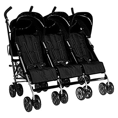 Kids Kargo Triple Pushchair With Raincover & Safety Strap Reflector Strips,Black  HUAXING