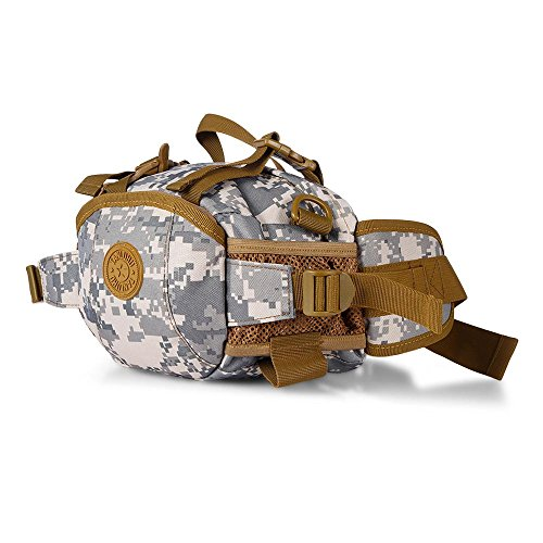 Tactical waist bag multi-funtional nylon camouflage cintura marsupio sacchetto per trekking, campeggio, picnic pesca viaggiare alpinismo trekking, Black Urban Camouflage