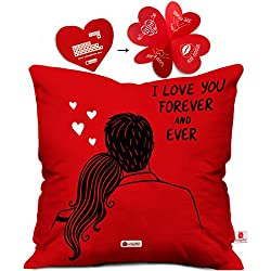 Indigifts Valentine Day Gift I love You Forever Quote Romantic Couple Sitting Together Red Cushion Cover 16x16 inch - Gift for Boyfriend, Girlfriend, Birthday, Wife, Husband, Anniversary