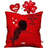 Indigifts Poly Satin I Love You Forever Quote With Couples Picture Cushion Cover (16X16 In)(Red)