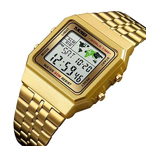 YSA Fashion Square Elektronische Uhr World Time Countdown Stoppuhr Stahlarmbanduhr